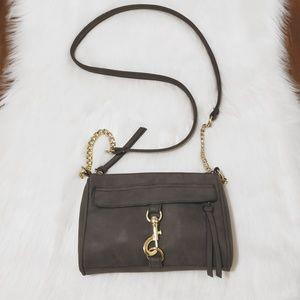 Handbags - Vegan Leather Chain Strap Medium Gray Bag